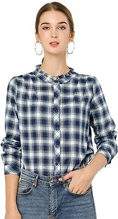 Allegra K Camisa A Cuadros Cuello con Volantes Manga Larga Blusa De Otoño para Mujer: Amazon.es: Ropa y accesorios