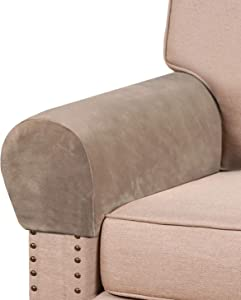 Real Velvet Armrest Covers for Chairs and Sofas Couch Arm Covers for Sofa Thickened Velvet Armrest Covers Anti-Slip Furniture Protector Washable Armchair Slipcovers for Recliner Set of 2, Taupe