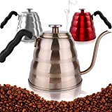 Pour Over Coffee Kettle with Thermometer-Flow Gooseneck Tea Kettles-Brew Barista-Standard Hand Drip Coffee Suitable all Stovetops and Induction,BPA Free, Father's Day Gifts, 40oz,Champagne