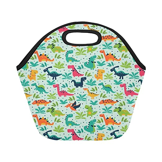 d7a5c1e9e6 Dinosaur Pattern Print Neoprene Waterproof Insulated Lunchbox Portable  Carry Tote Picnic Storage Bag Lunch box Food