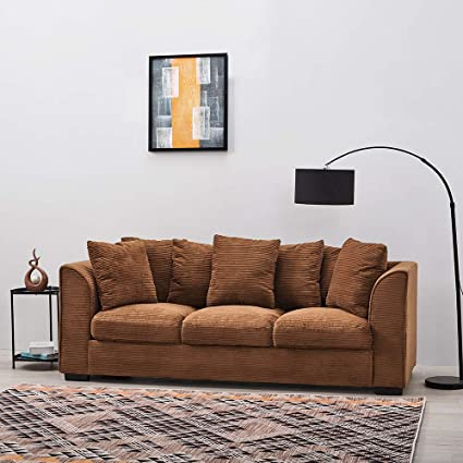 Superb Wellgarden Jumbo Cord Corner Sofa 3 Seater Fabric Sofa Settee Full Chenille Cord Fabric Sofa Left Or Right Chaise Couch 3 Seater Brown Sofa Short Links Chair Design For Home Short Linksinfo