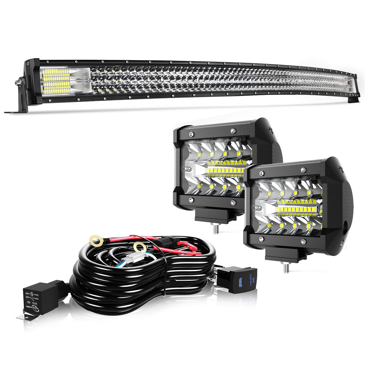 TURBO SII 52'' Curved LED Light Bar Triple Row 711W Flood Spot Combo Beam Led Bar W/ 2Pcs 4in 60W Off Road Driving Fog Lights with Wiring Harness-3 Leads for Jeep Trucks Polaris ATV Boats Lighting by TURBO SII