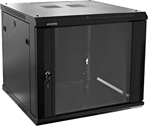 AEONS 9U Professional Wall Mount Network Server Cabinet Enclosure 19-Inch Server Network Rack Black