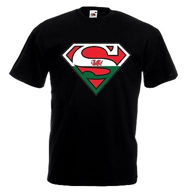 Superman Welsh T-shirt - Sports Wales Cymru Flag Logo Football Rugby Gift  Top ( 99e53b27b