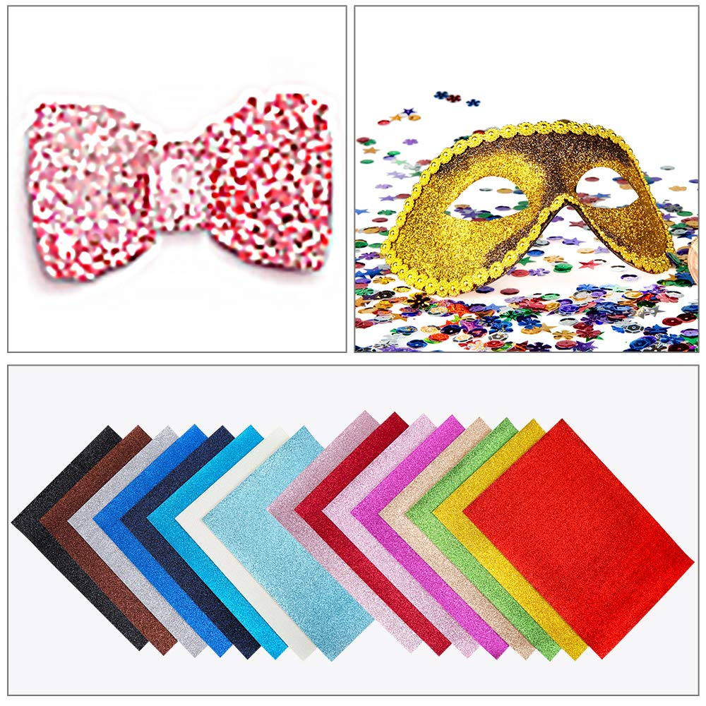 Sntieecr 16 Pieces 16 Shiny Colors Superfine Glitter Sequins Fabric, Faux Leather Fabric Sheets Canvas Back 12.6 x 8.6 Inch (32 x 22 cm) for DIY Craft, Making Hair Clips, Earrings and Sewing Project by Sntieecr (Image #7)