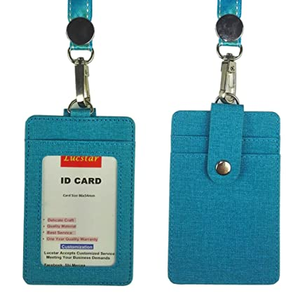 amazon com lucstar id pu leather card badge holder with lanyard