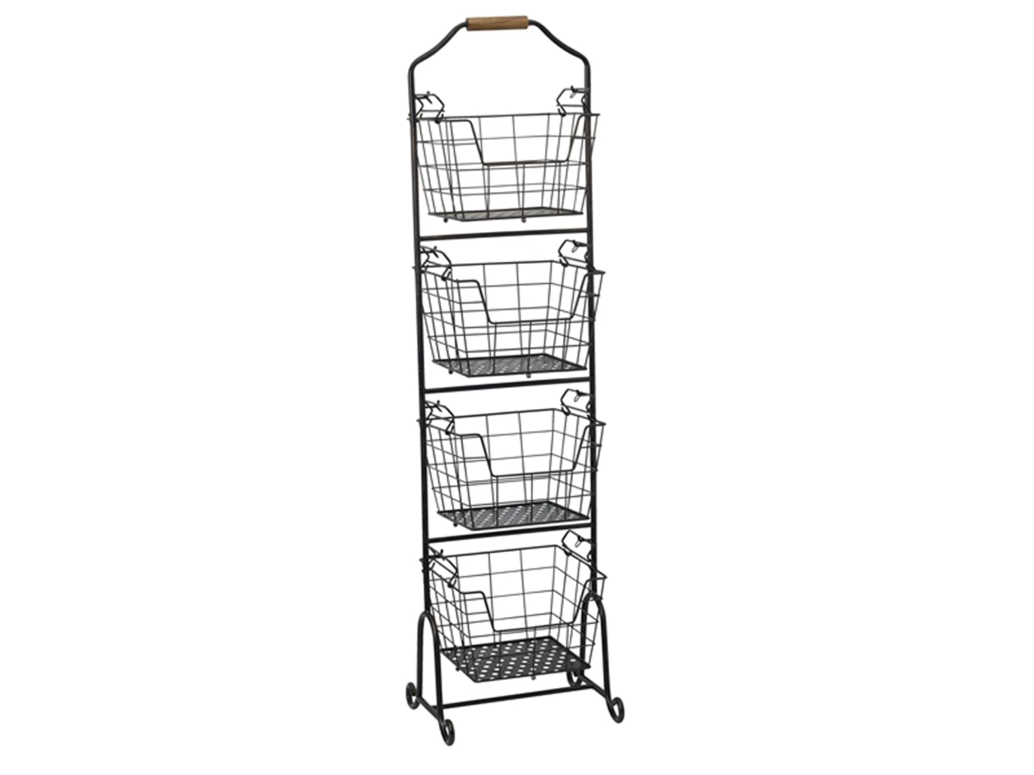 Gourmet Basics by Mikasa 5228872 Ferme 4-Tier Metal Floor Standing Fruit/Home Storage Market Basket Large Antique Black