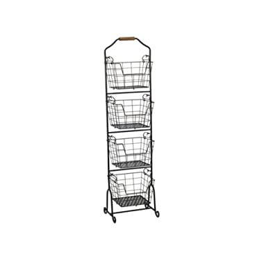 Gourmet Basics by Mikasa 5228872 Ferme 4-Tier Metal Floor Standing Fruit/Home Storage Market Basket, Large, Antique Black