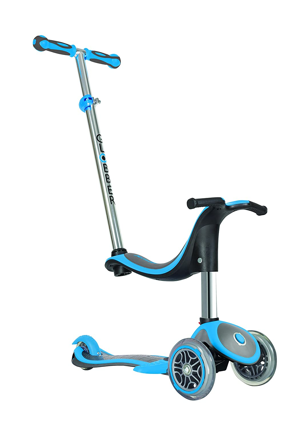 Globber Kinder EVO 4 in1 Plus mit Licht bis Rädern Scooter, Kinder, Evo 4-in-1 Plus with Light Up Wheels, neonblau 454-130