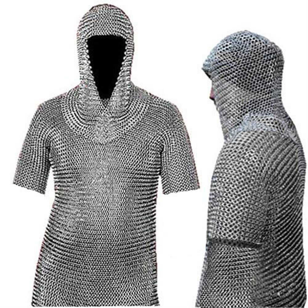 Medieval Chain Mail Shirt and Coif Armor Set (Full Size) Long Shirt (Large)