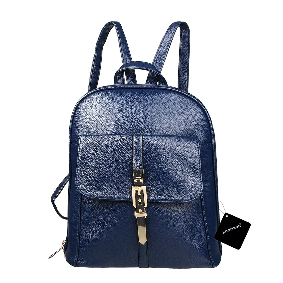 xhorizon TM FL1 Leather Mini School Bag Travel Backpack Rucksack Shoulder Bag Satchel (Navy) by xhorizon (Image #1)