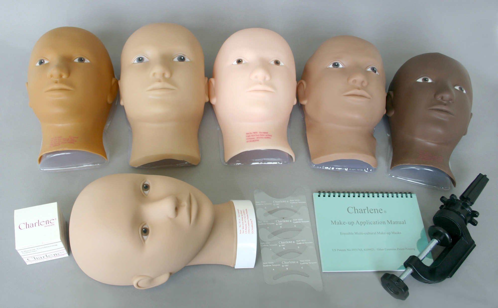 Charlene Erasable Make-up Mannequin Mask Kit - Tan/Dark Skin Tone, Open Eyes