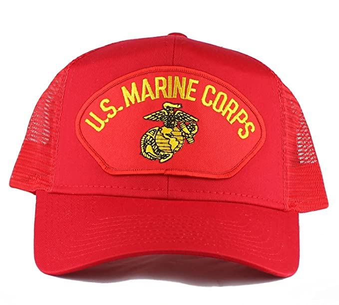 652de6cdf8f OldSchoolUSA Military U.S. Marine Corps Large Embroidered Iron On Patch  Snapback Trucker Cap