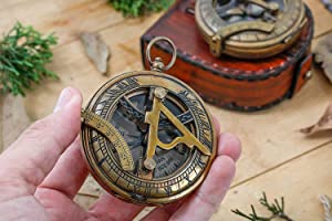 Personalized Compass Sundial for Dad Compass Personalized Compass Engarved Antique Compass Custom Gift Brass Sundial Compass Fathers Day, dad Gift