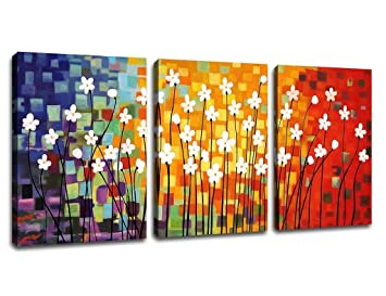 ARTEWOODS Wall Art Canvas Painting Pictures Prints Colorful Flowers Abstract  Paintings Framed Contemporary Abstract Painting Giclee