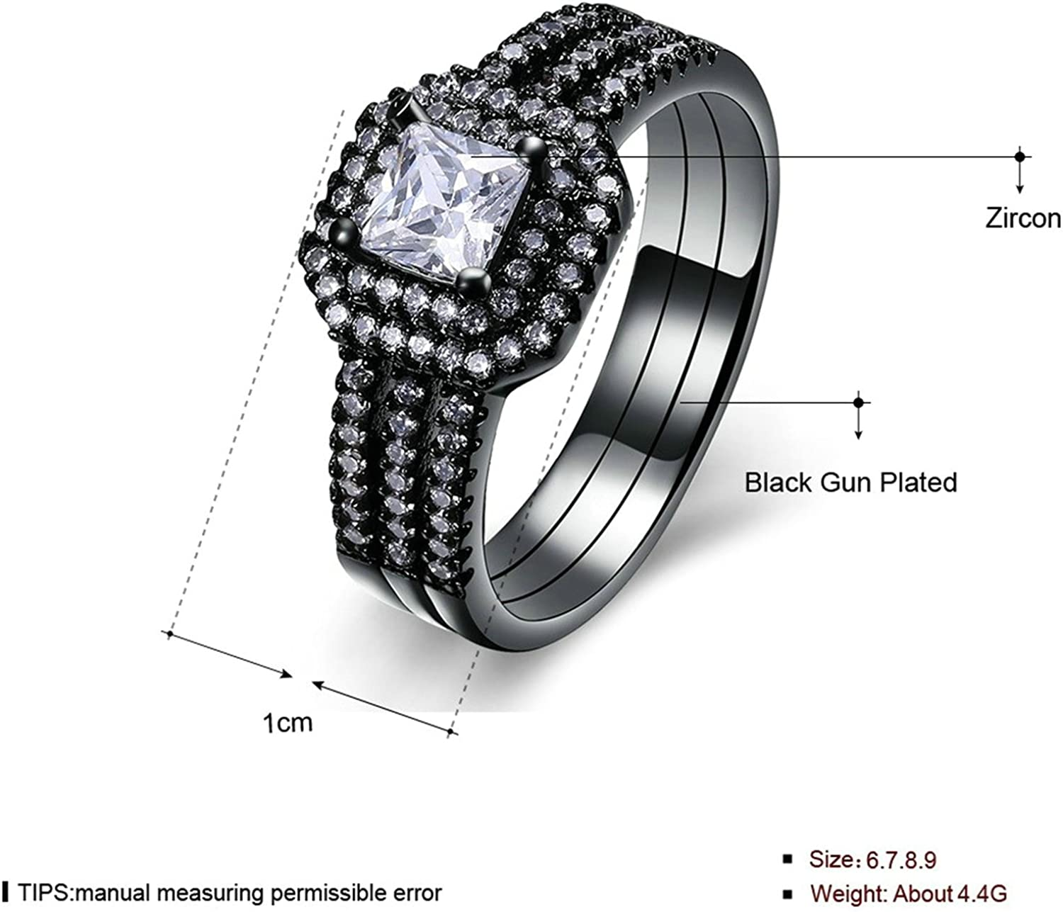 Epinki Gold Plated Ring Womens Wedding Bands Silver Love Shape Hollow Inlaid Cubic Zirconia Size 8