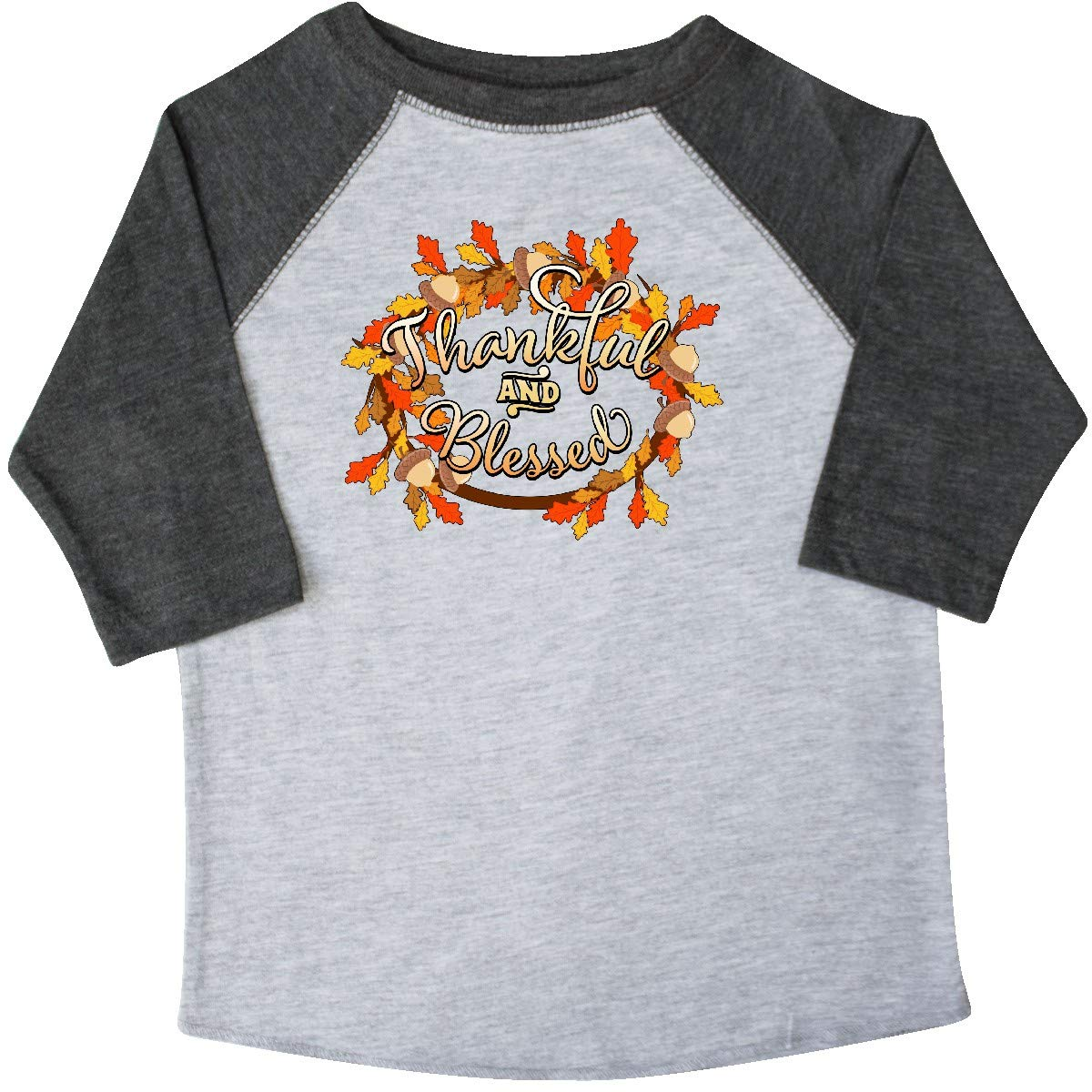 inktastic Thankful and Blessed Toddler T-Shirt 4T 3/4 Sleeve Heather Smoke by inktastic