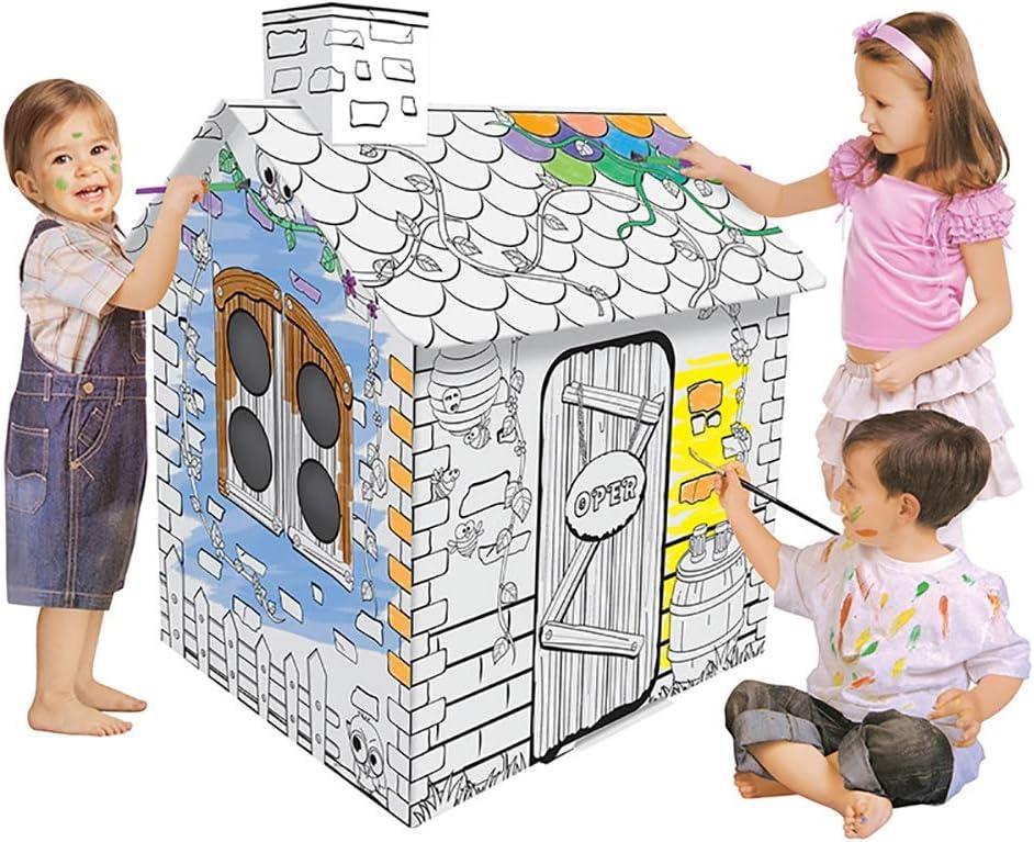 ROCK1ON DIY Graffiti Casa de Juegos de Cartón Cabaña Casa De Papel Juego de Roles para niños Juguete educación Tienda de campaña Interior Regalo de cumpleaños