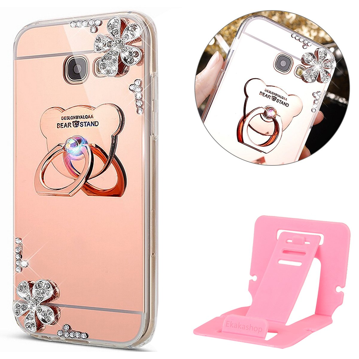Coque Galaxy J3 2017 U.S. Edition Glitter Silicone, Miroir Coque pour Samsung Galaxy J3 Prime, Ekakashop Luxe Beau 3D Bling Shiny Brillant Mirror Effect Cover Ours Rose D'or Motif Soft TPU Silicone Transparent avec Strass Gliter Sparkle Protecteur Back Cov