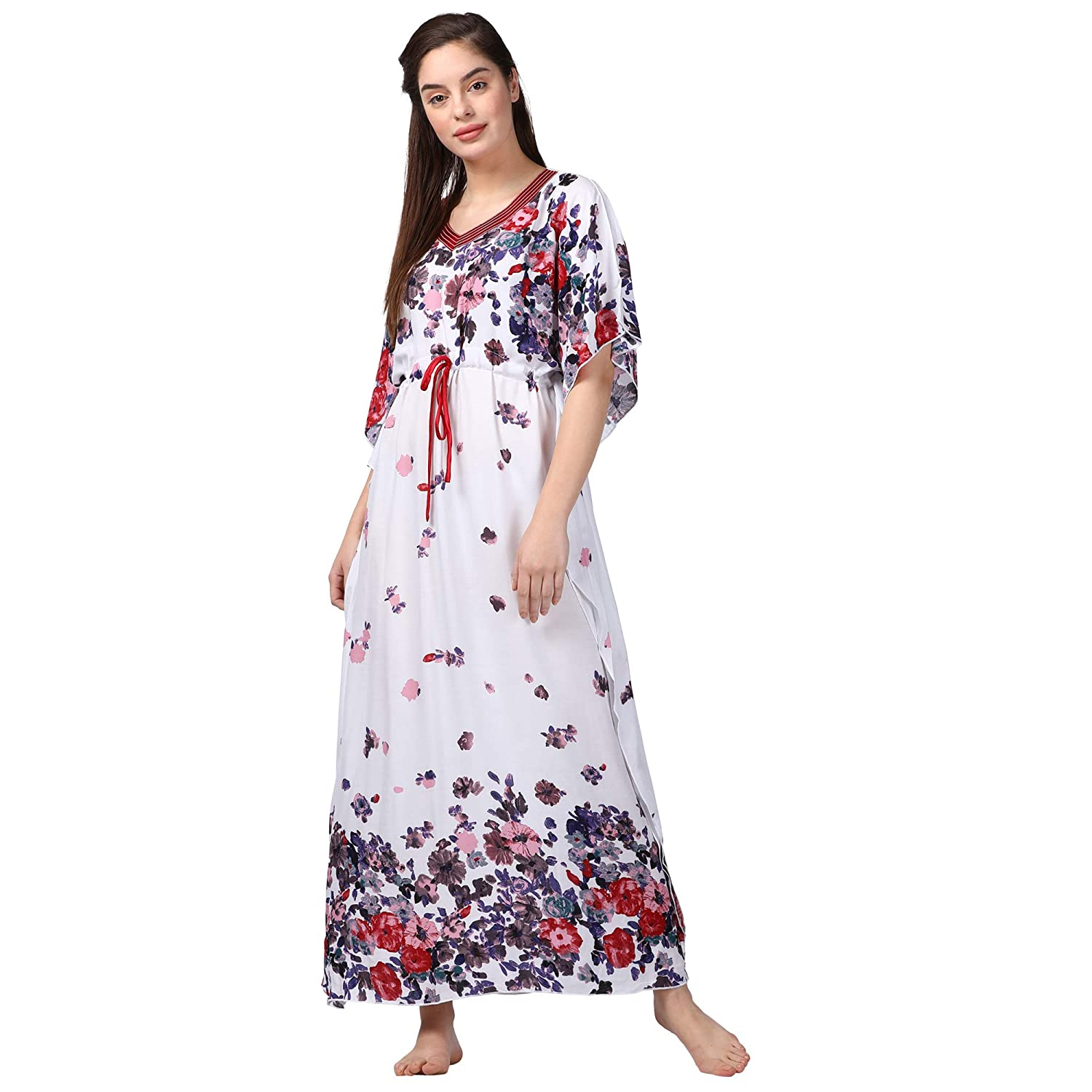bafc8911ff GOLDSTROMS Minelli Women Printed Kaftan White Dress  Amazon.in  Clothing    Accessories