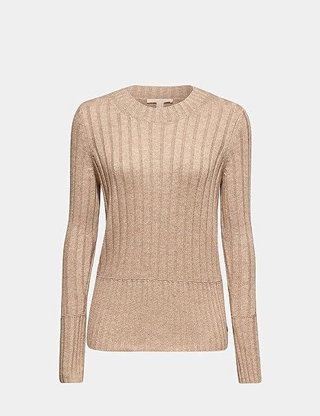 ESPRIT Mit Kaschmir: breit Gerippter Pullover