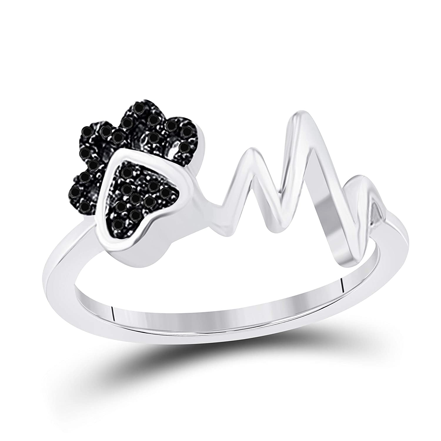 Paw /& Heartbeat Ring 1//10 ct tw Black Simulated Diamond Ring Sterling Silver
