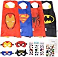 Super Kiddos Superhero Cape and Mask Costumes for Kids Set-Capes, Masks Stickers and Tattoos