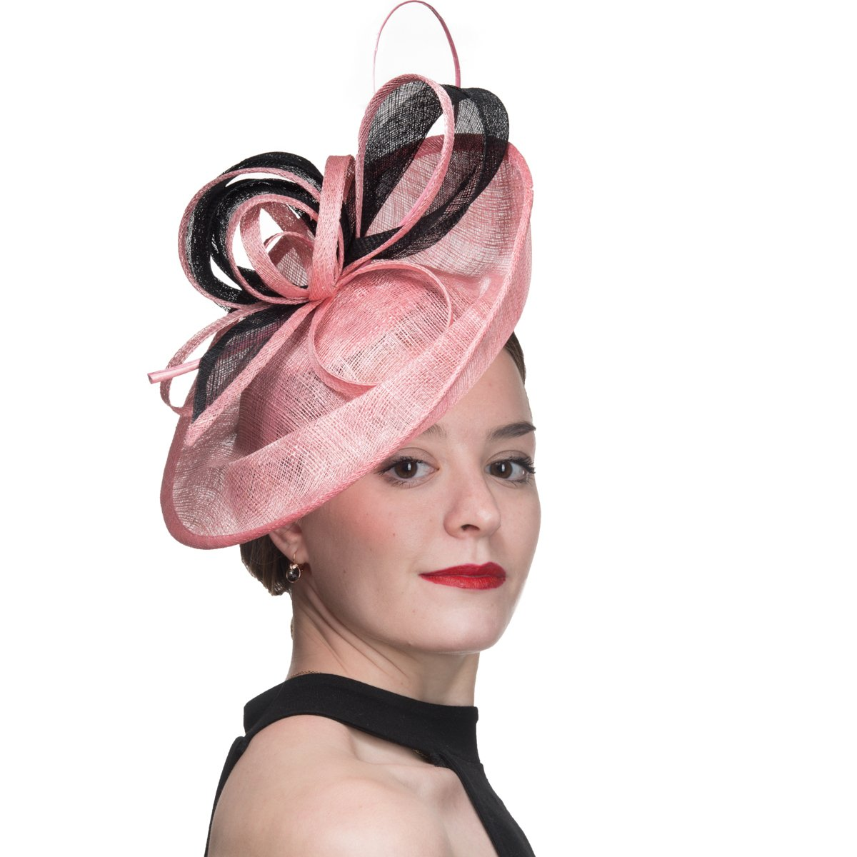 KaKyCo 102059-2 Tone Sinamary Headband Fascinator Cocktail Hats - Pink/Black