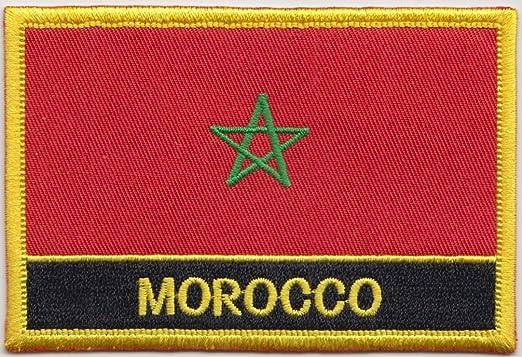 Bandera de Marruecos bordado rectangular parche insignia/Sew encendido o hierro EN – Diseño exclusivo de 1000 banderas: Amazon.es: Jardín