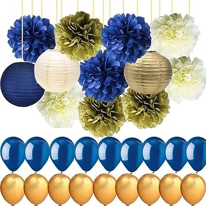 Amazon Com Royal Blue Gold Cream Party Decorations Tissue Paper Pom
