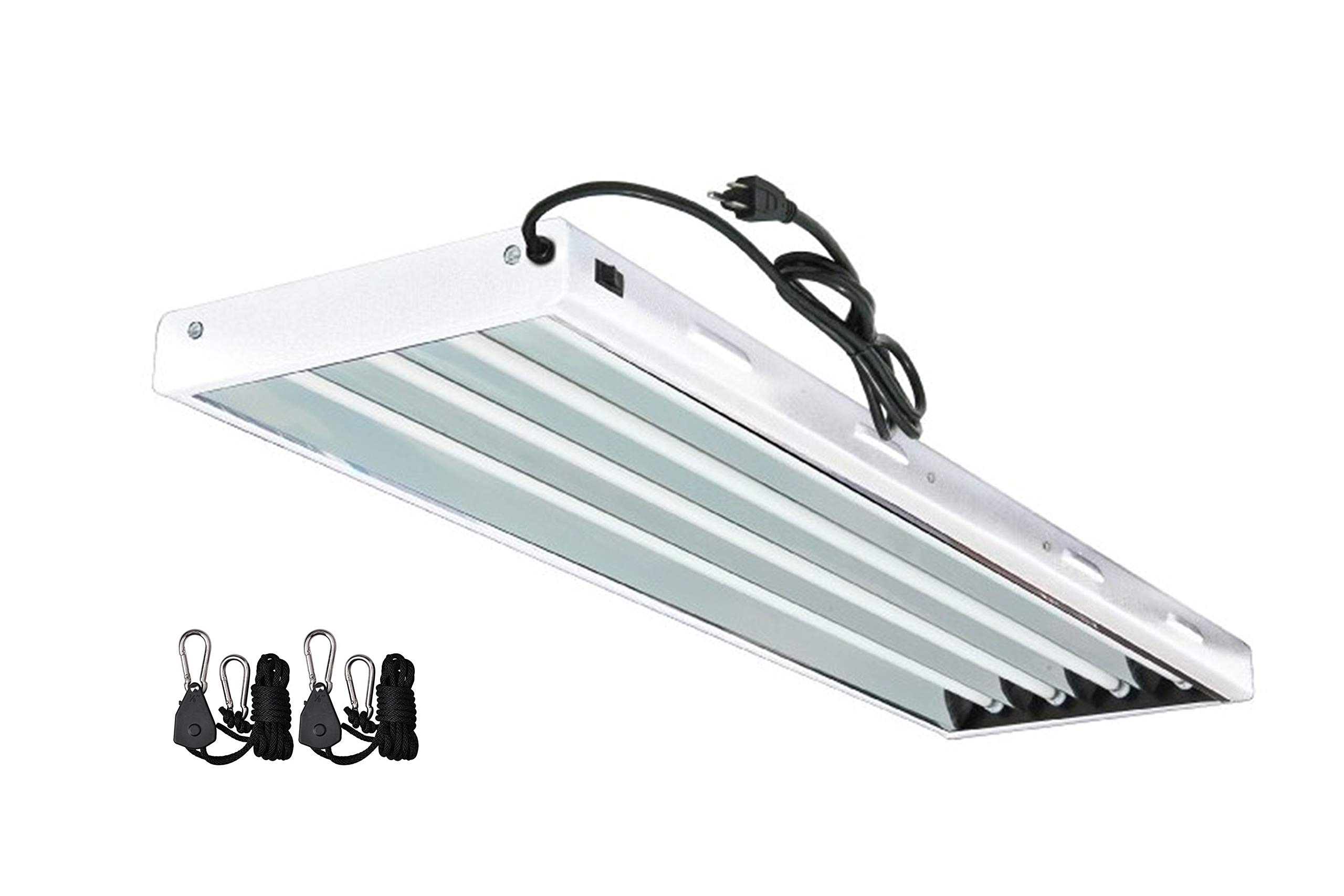 Grow Co. T5 Fluorescent Fixture 6500K HO Bulbs Included for Hydroponic Indoor Gardening (T5 4ft 4 Bulb Fluorescent Fixture)