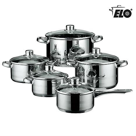 Nueva Elo Alemania 10 piezas Batería de cocina (inducción ollas y sartenes de cocina de