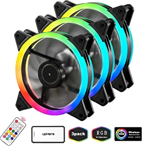 upHere RGB Series Case Fan, Wireless RGB LED 120mm Fan,Quiet Edition High Airflow Adjustable Color LED Case Fan for PC Cases-3 Pack,RGB123-3