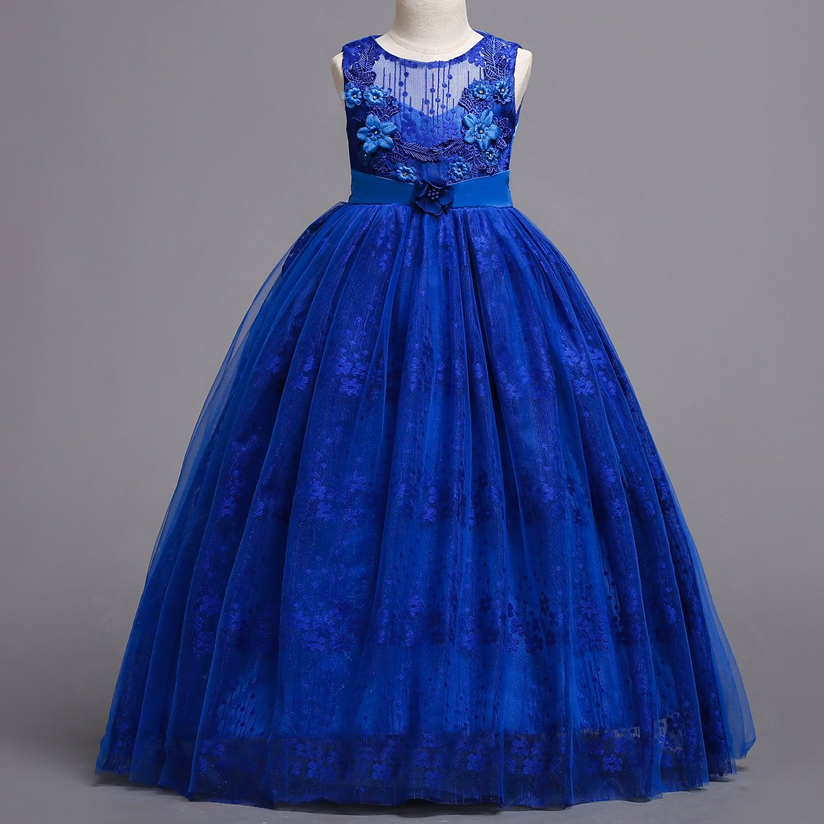 Amazon.com: OBEEII Little Big Girl Flower Tutu Dress Princess Pageant Wedding Junior Bridesmaid First Communion Ball Gown: Clothing