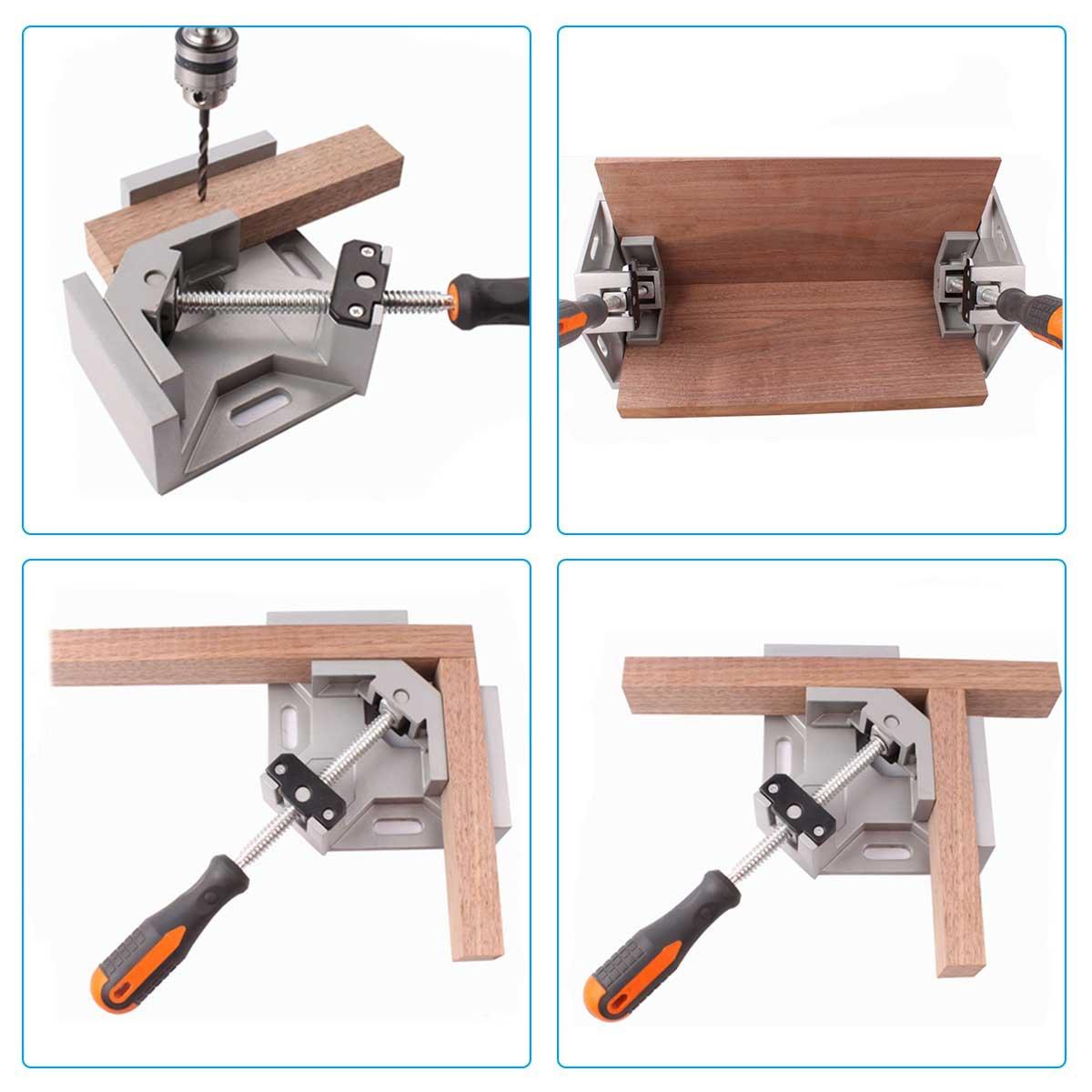 lIng/énierie Serre-Joint /à Angle Droit le Soudage le Charpentier GOCHANGE 90/° Corner Clamp//Etau dAngle /à une main en Aluminium avec une Capacit/é dEcartement de 70 mm pour le Travail du Bois