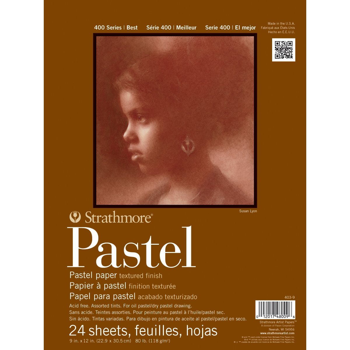 Strathmore 400 Series Pastel Pad, Assorted Colors, 9''x12'' Glue Bound, 24 Sheets by Strathmore