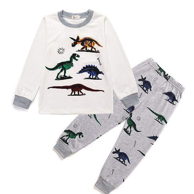 6366c06cc Toddle Boys Pyjamas Set Dinosaur Pjs for Boy Winter Nightwear Kids ...