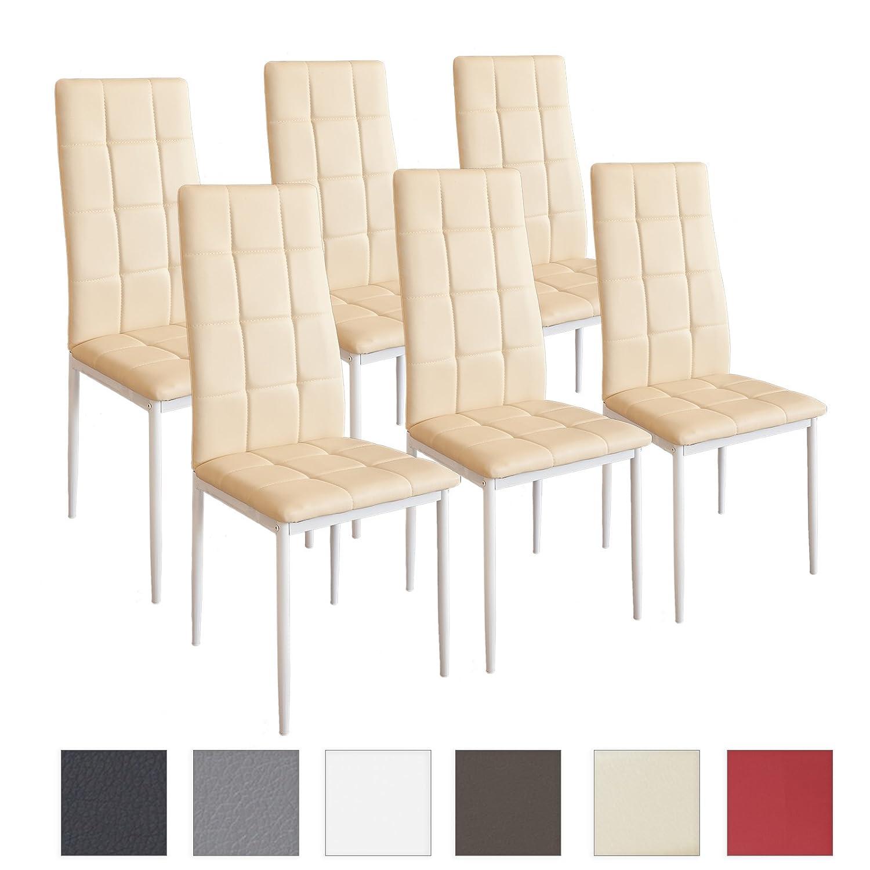 Albatros silla RIMINI, Set de 6 sillas, Beige, certificada por la SGS, silla de comedor: Amazon.es: Hogar