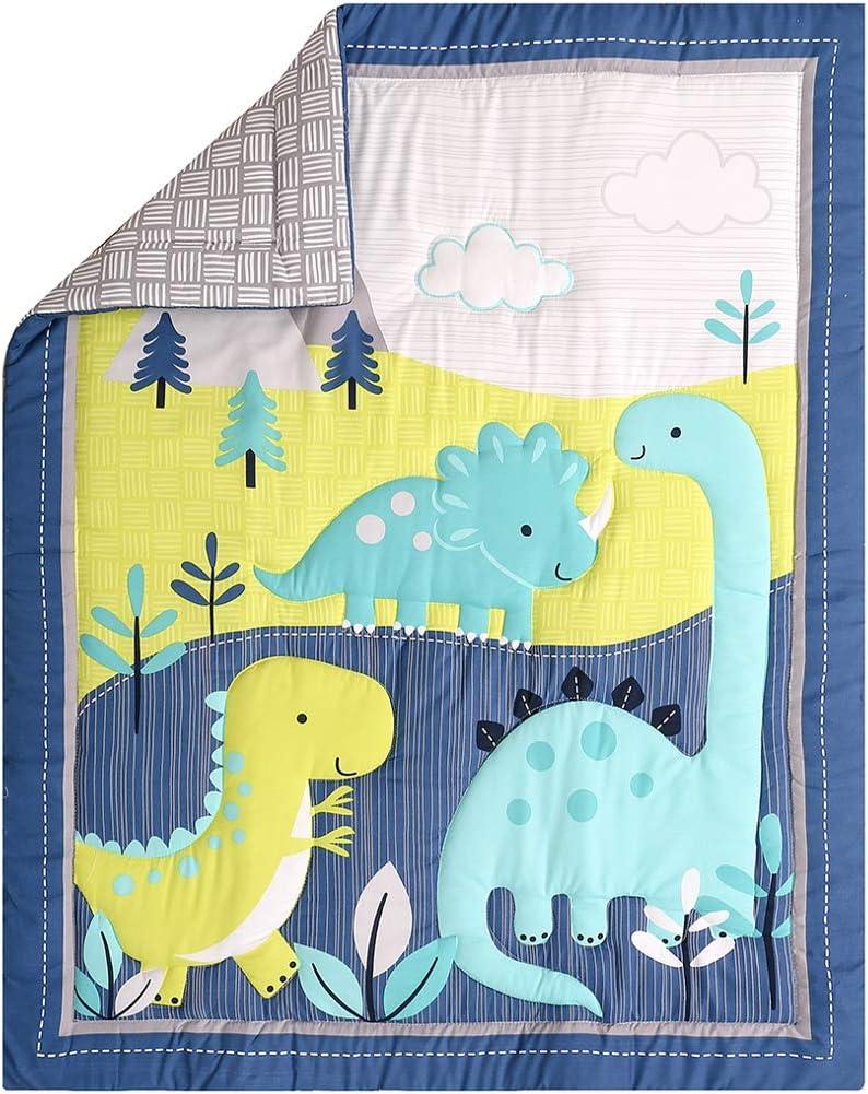 Hypoallergenic Microfiber Dino Nursery Set Includes Baby Comforter Crib Sheet and Dust Ruffle FlySheep 3 Piece Cute Blue Teal Dinosaur Crib Bedding Set for Boys
