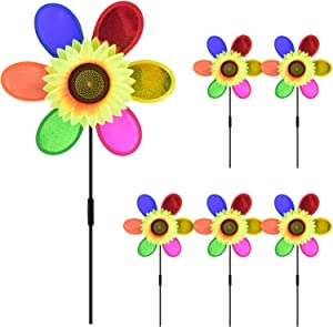PACETAP Sunflower Wind Spinners, 6 Pack Garden Pinwheel Spinner for Garden Yard Lawn Decoration
