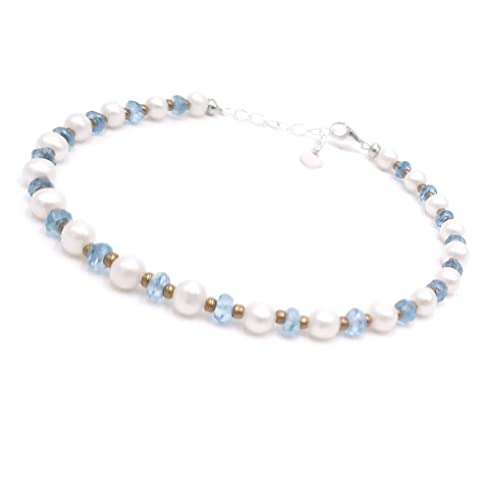 Beautiful Duji,blue topaz and Pearl stone handmade silver plated bracelet