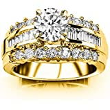 1.6 Cttw 14K Yellow Gold Round Cut Channel Set Baguette and Round Diamond Engagement Ring with a 0.5 Carat D-E Color I1 Clarity Center