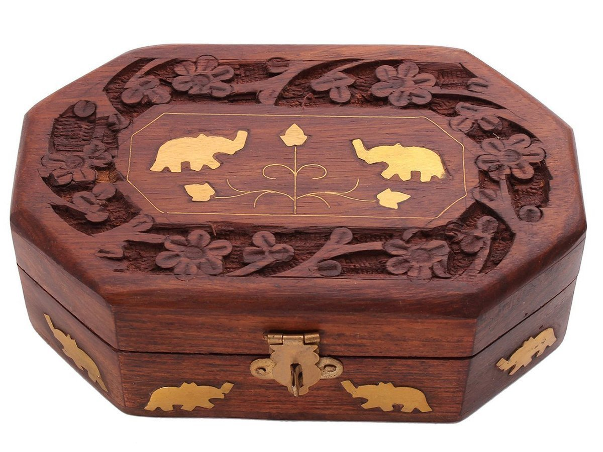 Store Indya Cyber Monday Decorative Handmade Wooden Box Jewelry Trinket Holder Organizer Keepsake Storage Box Elephant Brass Inlay