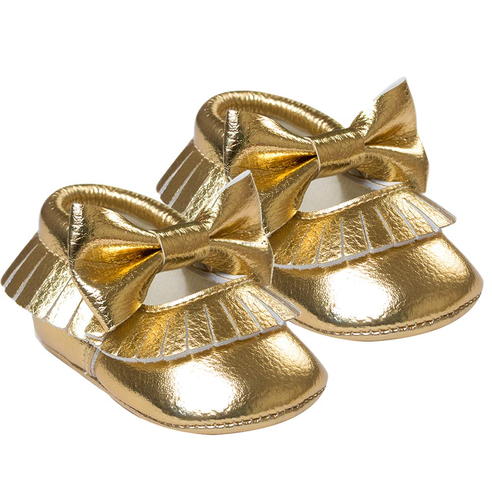 Black 11cm Alamana Bowknot Tassel Infant Baby Girls Soft Sole Anti-Slip Prewalker Toddler Shoes Golden