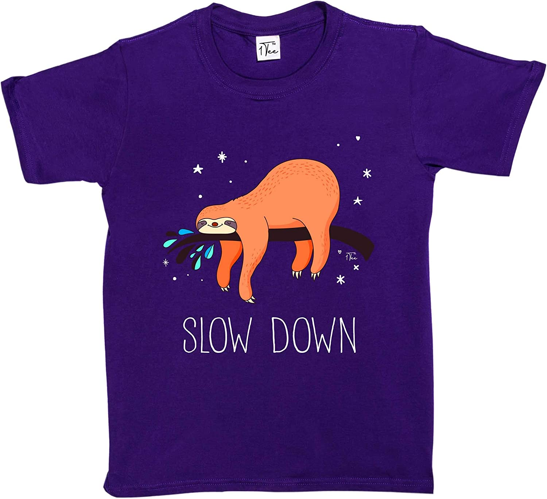1Tee Girls Slow Down Sloth T-Shirt