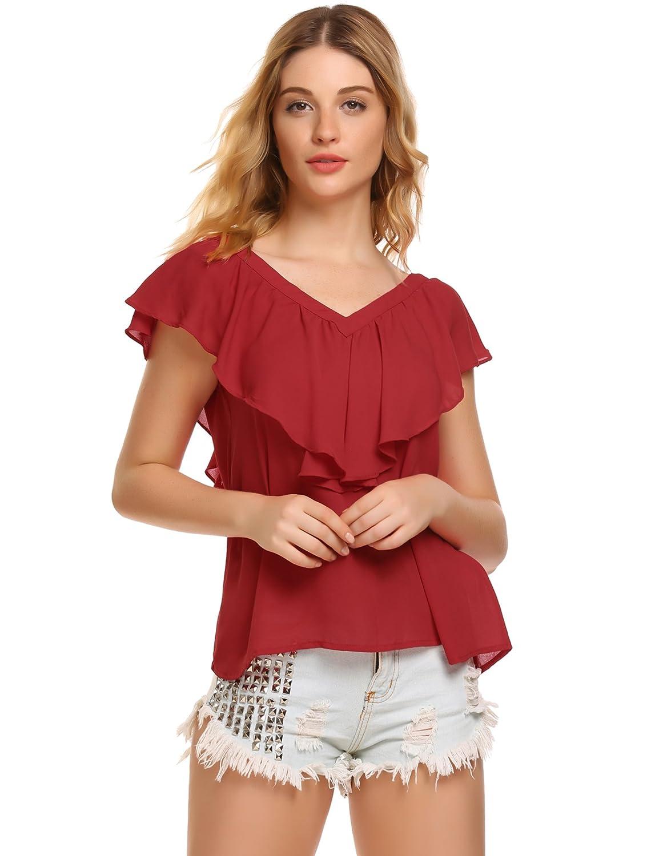 Zeagoo Damen V ausschnitte Bluse Elegant Kurzarm Fledermaus T-shirt Sexy  Chiffon Oberteil in S-XXL  Amazon.de  Bekleidung fcc14106e5