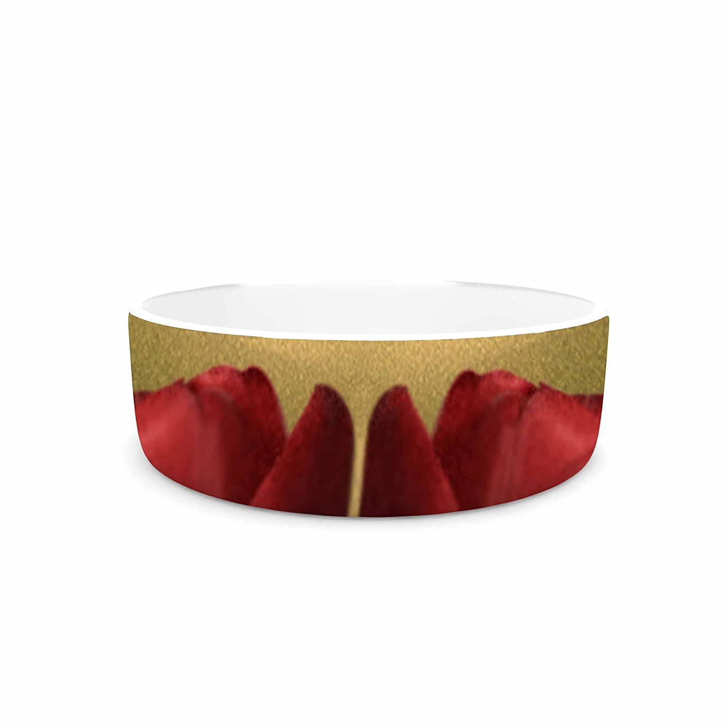 KESS InHouse Sylvia Coomes Two of a Kind  Red Floral Pet Bowl, 7