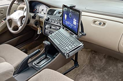 ARKON 22-Inch Tall Tablet and Keyboard Holder Combo Mount with Heavy Duty Seat Rail Mounting Pedestal