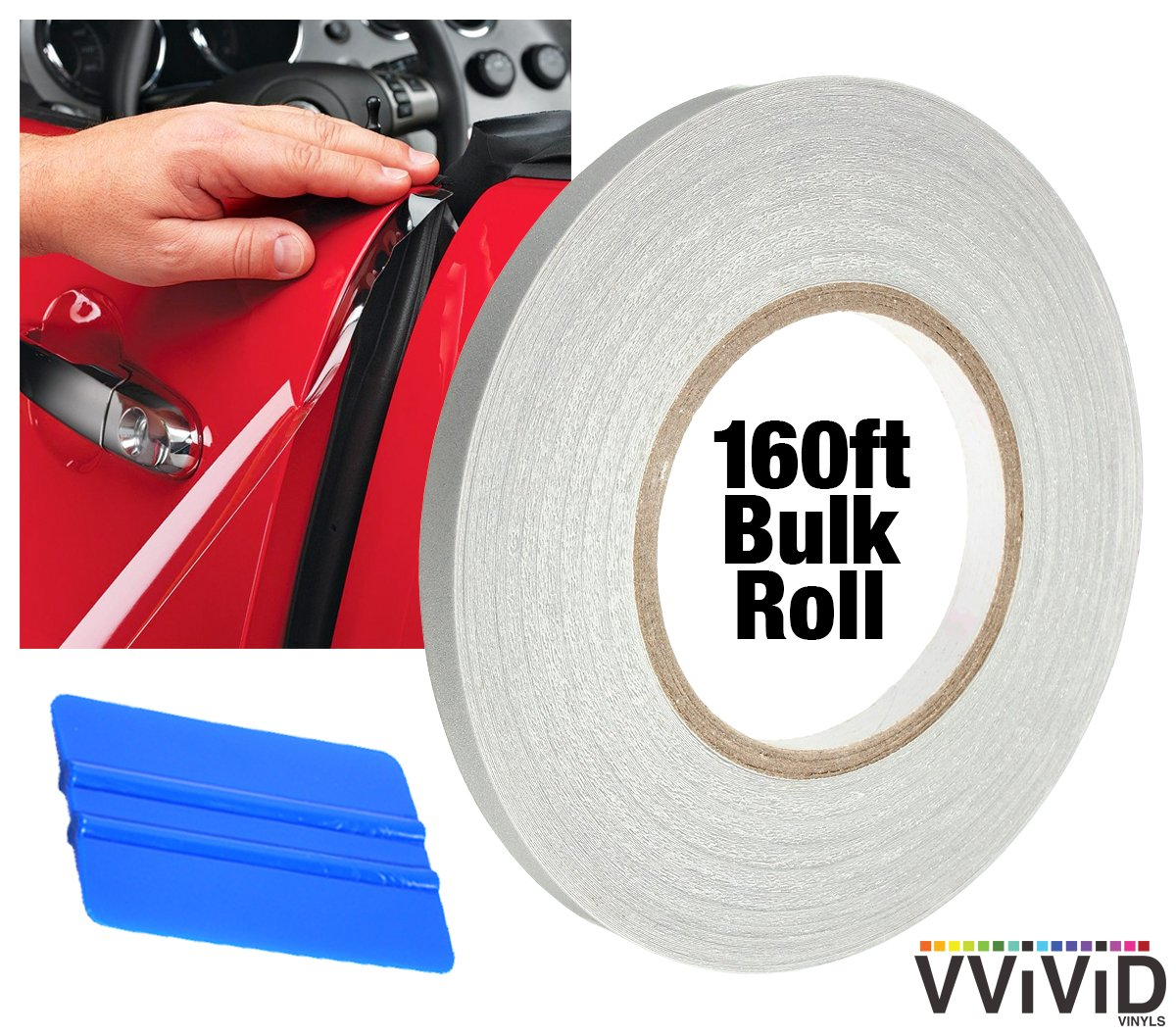 VViViD Clear Car Edge Sealer Paint Protection 160ft x .5'' Bulk Full-Car Roll Including 3M Squeegee by VViViD
