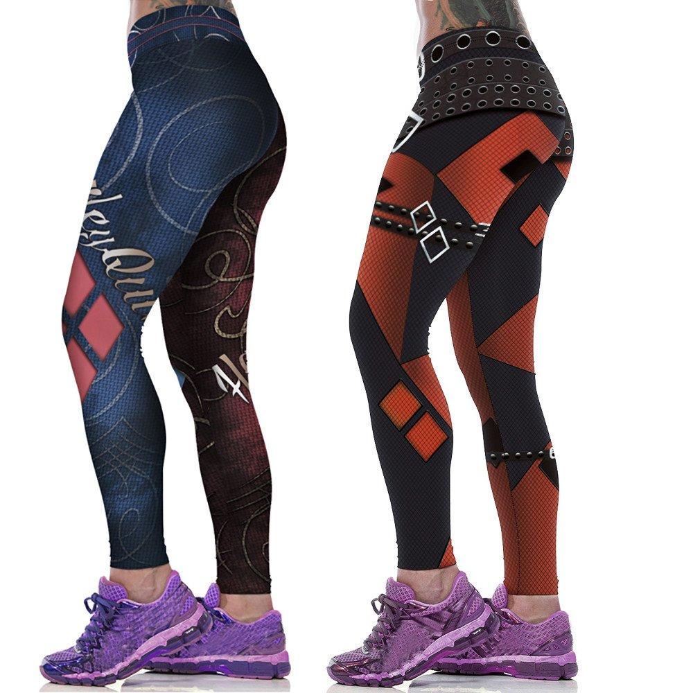 Yusealia Pantalones Yoga Mujeres Mallas Deportivas Mujer Cintura Media Estampado de Estrellas Leggings Mujer Estampado Floral Deporte Pantalones ...